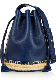 Finds + Maslin & Co jute-trimmed textured-leather bucket bag