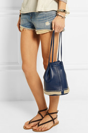 + Maslin & Co jute-trimmed textured-leather bucket bag