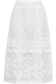 Embroidered silk-organza skirt