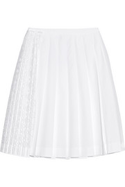 San Gallo lace-paneled cotton-poplin skirt