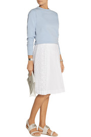 No. 21 San Gallo lace-paneled cotton-poplin skirt