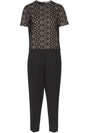 No. 21 Broderie anglaise cotton and ponte jumpsuit