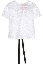 Embroidered silk-organza top