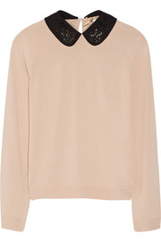 Embellished-collar knitted sweater