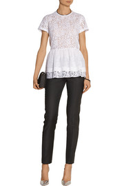 No. 21 Lace, chiffon and jersey peplum top