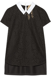 No. 21 Cotton-lace and jersey top