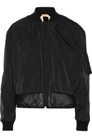 Paneled shell bomber jacket
