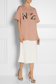 No. 21 Foil-print cotton-jersey T-shirt