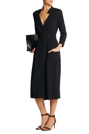 Belted wrap-effect crepe dress