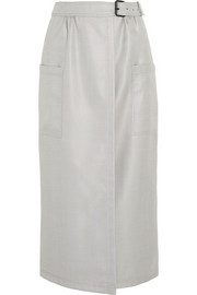 Herringbone silk and wool-blend wrap midi skirt