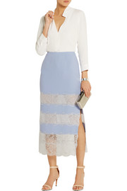 Lace-paneled crepe midi skirt