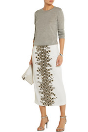 Wes Gordon Embellished crepe midi skirt