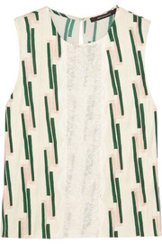 Lace-paneled printed crepe top