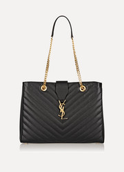 Saint Laurent Monogramme large quilted textured-leather tote