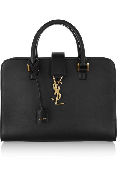 saint laurent female saint laurent monogramme cabas small leather tote black