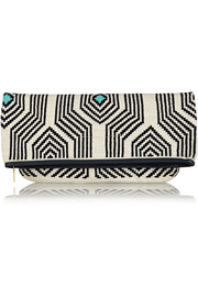 Camille leather-trimmed crocheted cotton clutch