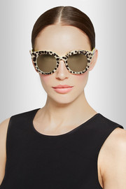 Dolce & Gabbana Leopard-print cat eye acetate mirrored sunglasses