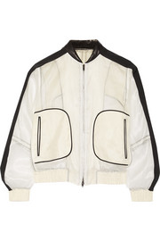 Contrast-trimmed silk-chiffon bomber jacket