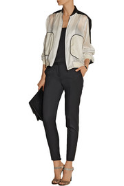 Reed Krakoff Contrast-trimmed silk-chiffon bomber jacket