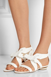 Bow-embellished leather sandals