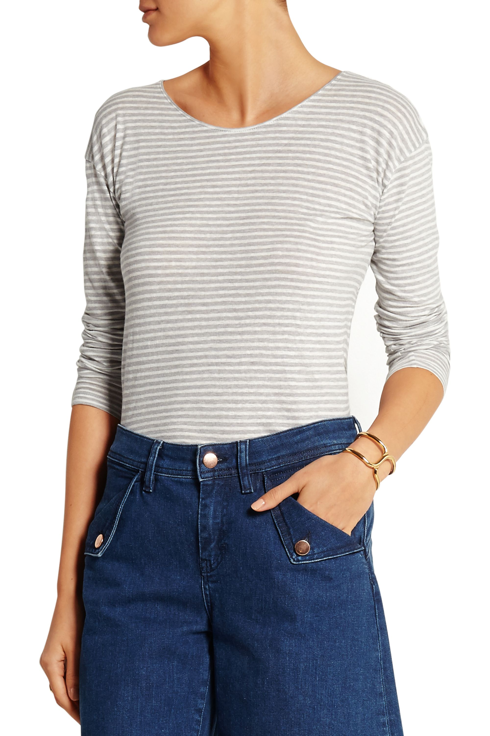 J.Crew Striped linen and cotton-blend top