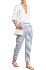 Striped cotton herringbone-twill pants