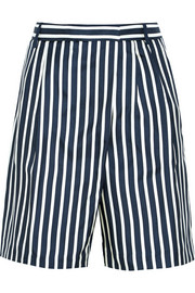 Collection striped silk-twill shorts