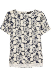Collection floral-embroidered cotton top
