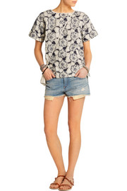 J.Crew Collection floral-embroidered cotton top