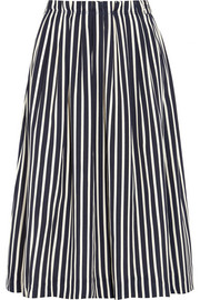 Catalpa striped crepe de chine midi skirt