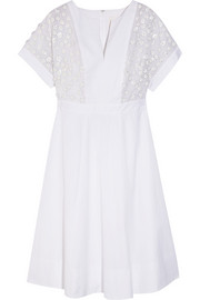 Collection + Thomas Mason® embellished cotton-poplin dress