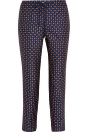 Satin-jacquard tapered pants