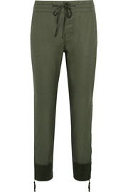 Calvary coated cotton-twill tapered pants
