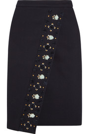 Collection embellished bonded-twill skirt