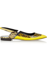 Antonio Berardi + Rupert Sanderson patent-leather and python point-toe flats