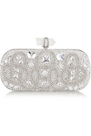 Lily medium Swarovski crystal-embellished satin box clutch
