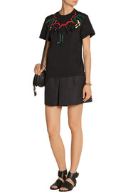 Faux leather-embellished cotton-blend jersey T-Shirt