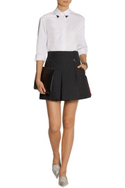 Faux leather-trimmed pleated gabardine shorts