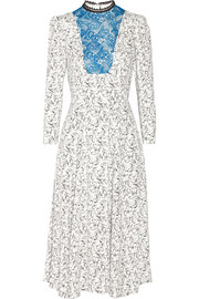 Lace-paneled floral-print crepe dress