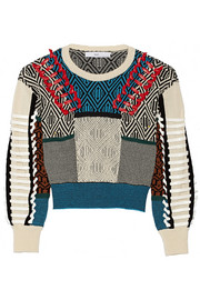 Faux leather-trimmed cotton-blend intarsia sweater