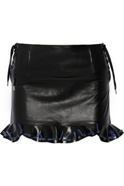 Ruffled leather mini skirt