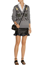 Toga Ruffled leather mini skirt