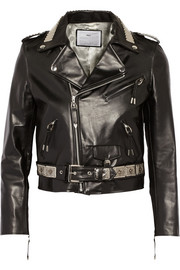 Embellished leather biker jacket