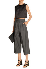 Amrath pleated wool and silk-blend culottes