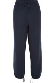 Knitted cotton and silk-blend tapered pants