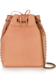 Gary large whipstitched textured-leather shoulder bag