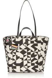 Norbert leather-trimmed printed canvas tote