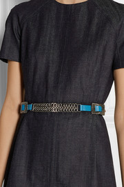 Chain-embellished leather belt