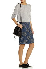 Distressed denim pencil skirt