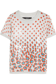 Sequined printed jersey top
